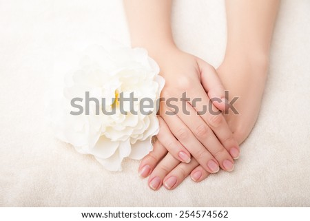 Beautiful woman hands and  flower isolated over white background - stock photo