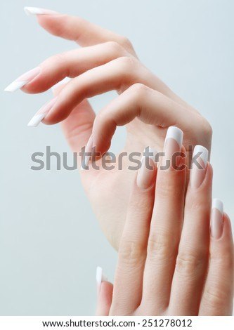 Beautiful Woman Hands. Beautiful hand with perfect nail.  - stock photo