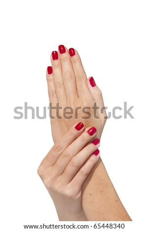 Beautiful woman hands isolated on white background - stock photo