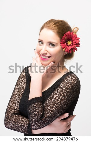 Beautiful woman hands on chin with great expression and smile half body shot isolated on white background - stock photo