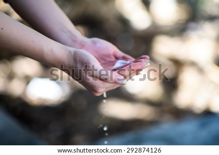 Beautiful Woman Hands Washing - stock photo