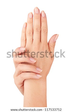 Beautiful woman hands with manicure isolated on white background. - stock photo
