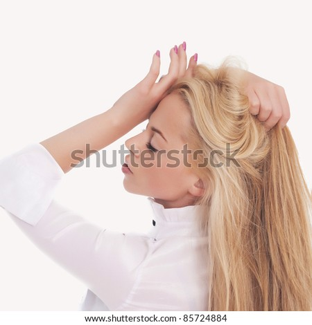 Beautiful woman having a headache.It is not isolated - stock photo