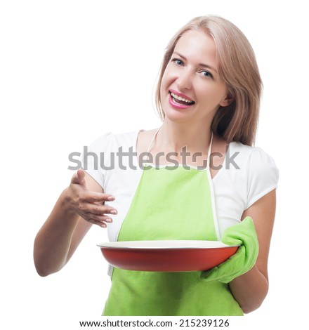 Beautiful woman holding a dish for a delicious meal isolated on white background - stock photo