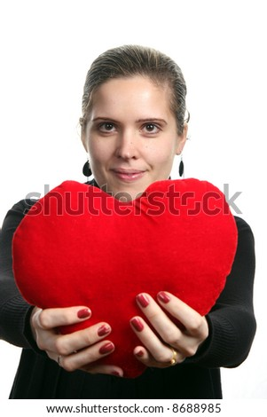 beautiful woman holding a love symbol in hands. On white background