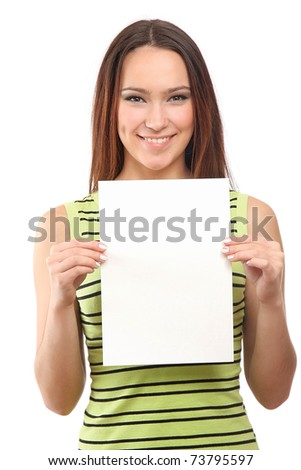 Beautiful woman holding empty white board - stock photo