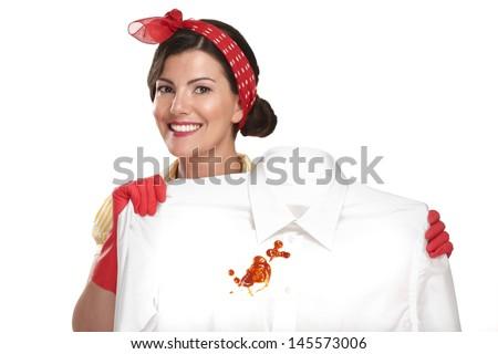 beautiful woman housewife showing a dirty shirt  on white - stock photo