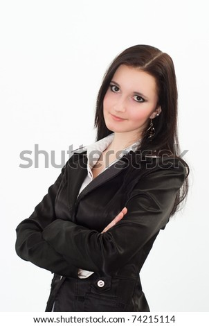 beautiful woman in a black business suit with a white