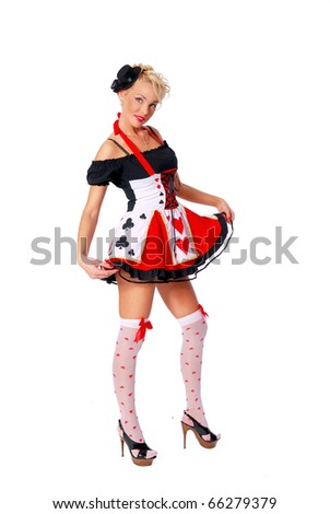 Beautiful woman in a cards carnival costume - stock photo