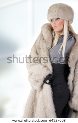 beautiful woman in a fur coat - stock photo