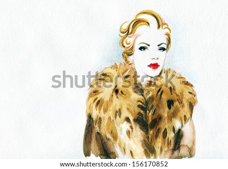 beautiful woman in a fur coat . Hand painted fashion illustration - stock photo