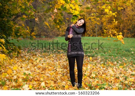 Beautiful woman in a german park in autumn