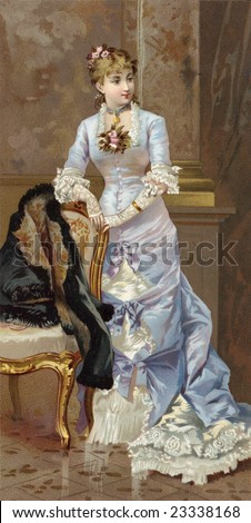 Beautiful woman in a long, lacy, Victorian style dress - a vintage illustration, circa 1870 - stock photo