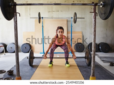 Beautiful woman in a private gym lifting weights in a focussed and serious manner  - stock photo