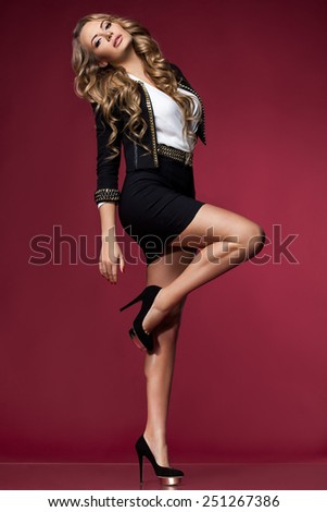 beautiful woman in a suit - stock photo