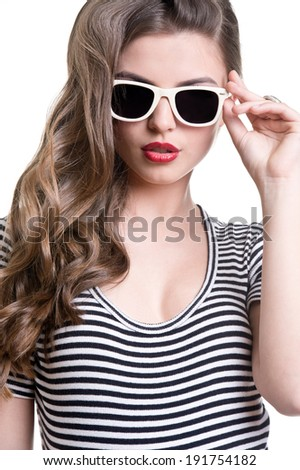 Beautiful woman in a sunglasses  - stock photo