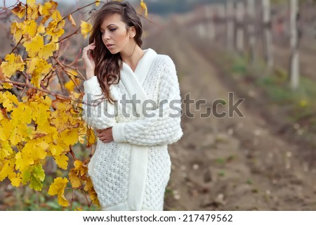 Beautiful woman in a sweater in the fall - stock photo