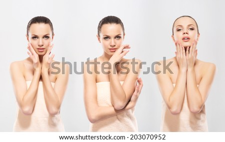 Beautiful woman in a towel. Spa, hygiene and health concept. - stock photo