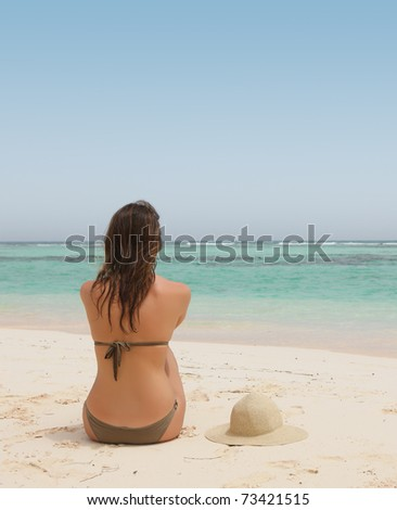 beautiful woman in a tropical beach