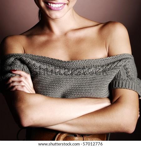 beautiful woman in a warm sweater - stock photo