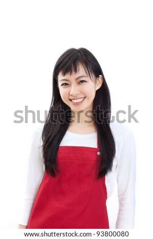 Beautiful woman in Apron promoting something, isolated on white background. - stock photo