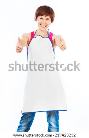 beautiful woman in apron with thumbs up  isolated on white - stock photo