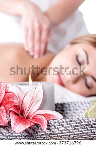 beautiful woman in beauty salon - focus concept - stock photo