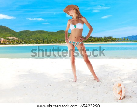 Beautiful woman in bikini on the beach - stock photo