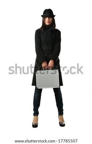 Beautiful woman in black with briefcase. Isolated on white background.