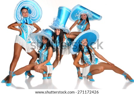 beautiful woman in blue carnival costume on a white background . in dance composition - stock photo