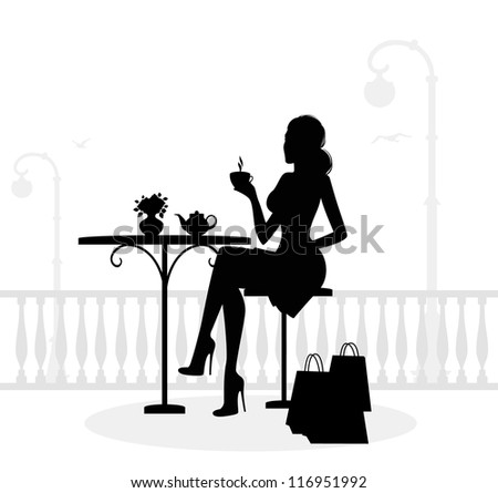 beautiful woman in cafe - stock photo