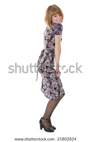 Beautiful woman in dress. Isolated on white background