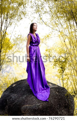 Beautiful Woman in lavender long dress  standing on a rock