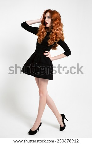 Beautiful Woman in Little Black Fashion Dress.