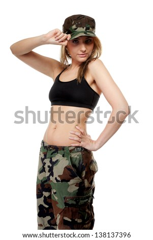 Beautiful woman in military clothes isolated on white background.