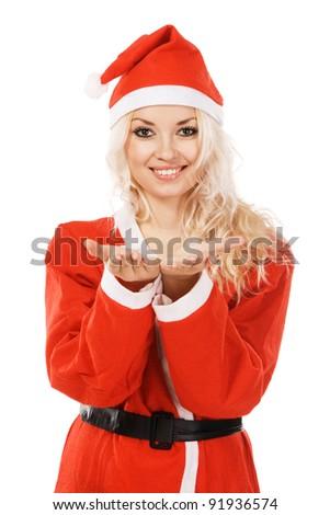 Beautiful woman in santa costume, white background - stock photo