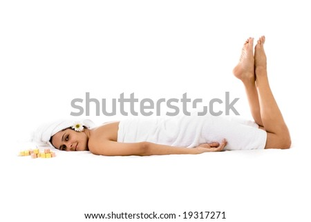 Beautiful Woman in Spa - Beauty and Healthcare Concept .