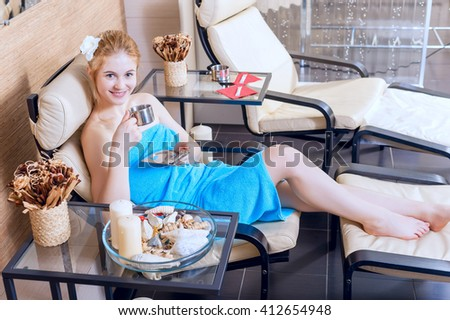 Beautiful Woman Spa Salon Relaxing Cup Stock