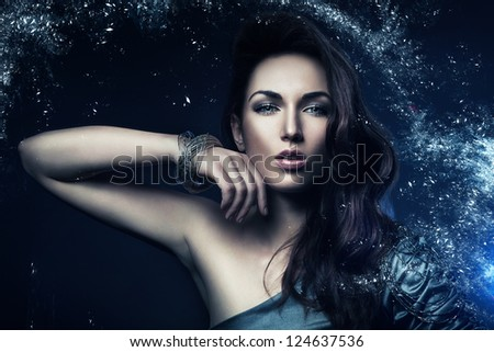 beautiful woman in star dust - stock photo