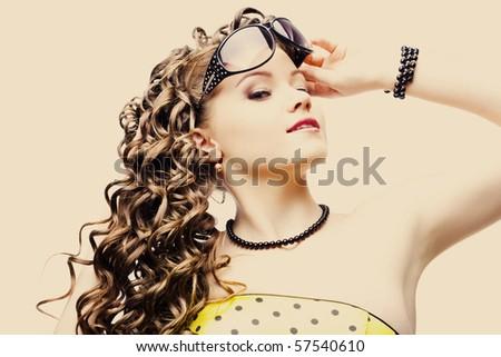 beautiful woman in sunglasses - stock photo