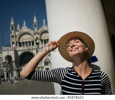 Beautiful woman in Venice - stock photo