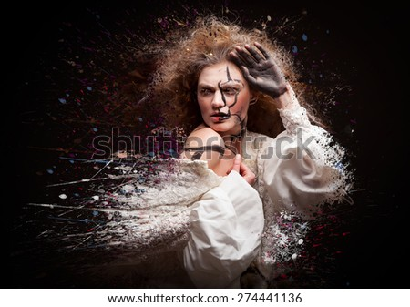 beautiful woman in white dress and paint splatter