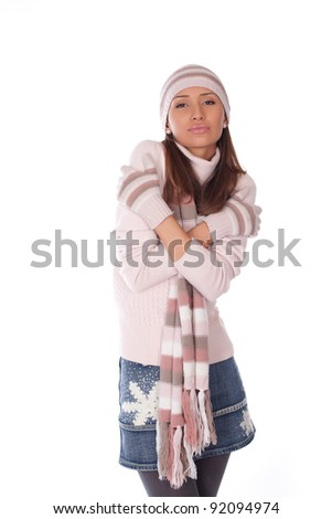 beautiful woman in winter hat and clothes - stock photo