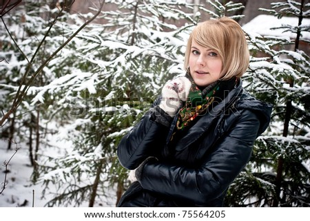beautiful woman in winter park - stock photo