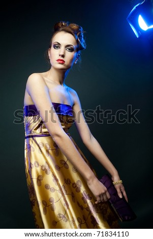 beautiful woman in yellow dress - stock photo