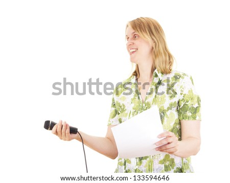 Beautiful woman interviewing somebody - stock photo