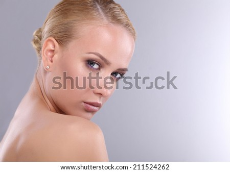 Beautiful woman , isolated on grey background