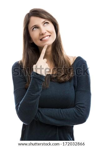 Beautiful woman isolated over a white background thinking on something - stock photo