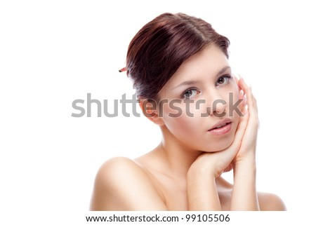 Beautiful woman. Isolated over white.
