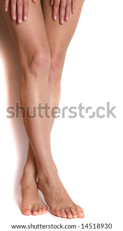 Beautiful woman legs isolated - stock photo
